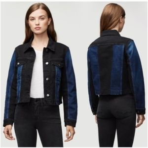 SALE Frame Block Denim Cropped Distressed Jacket